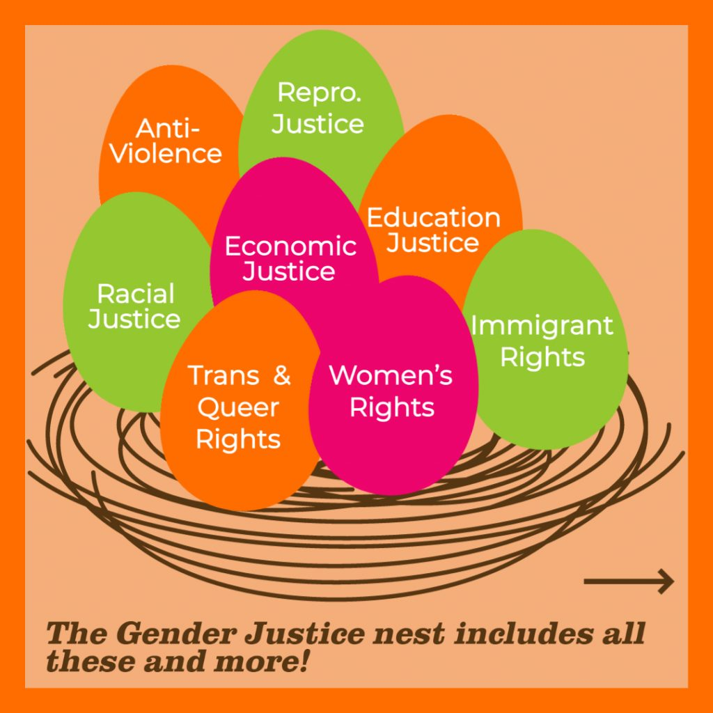 """Orange Image contains a brown nest with eggs. Each egg contains words: """"anti-violence, Repro. Justice, Education Justice, Economic Justice, Racial Justice, Trans and Queer Rights, Women's Rights, Immigrant Rights."""" Text below the nest reads: """"The Gender Justice nest includes all these and more!"""""""